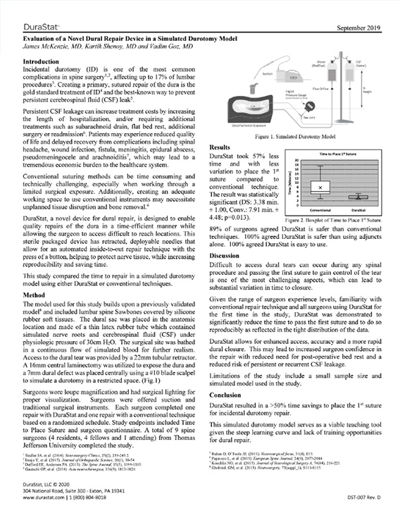 Document: Evaluation of a Novel Dural Repair Device